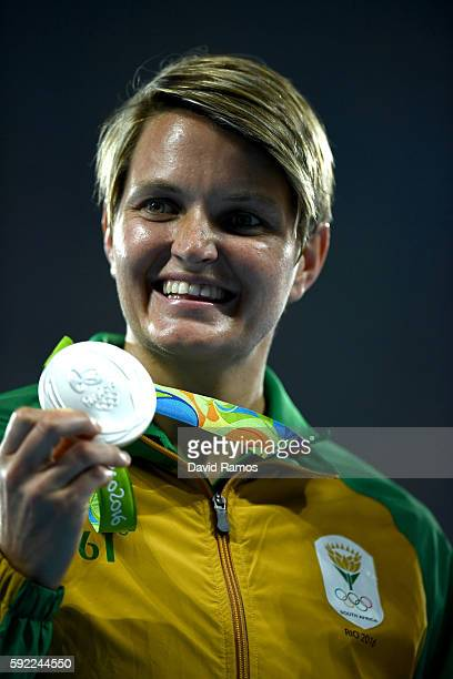 Silver medalist Sunette Viljoen of South Africa poses on the podium during the medal ceremony for the Women's Javelin Throw on Day 14 of the Rio 2016...
