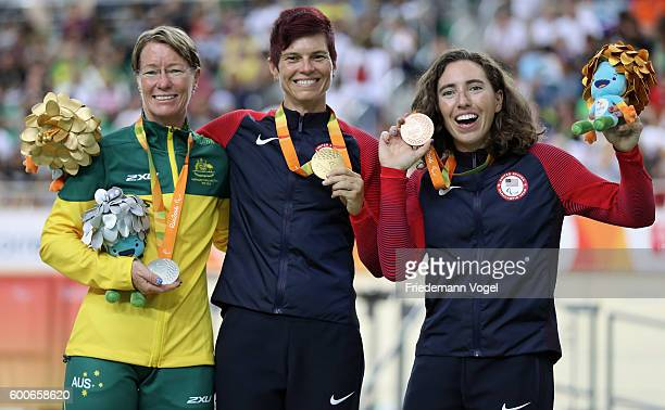 Silver medalist Susan Powell of Australia, gold medalist Shawn Morelli of the United States and bronze medalist Megan Fisher of the United States...