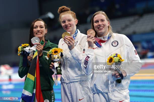 Silver medalist Tatjana Schoenmaker of Team South Africa, gold medalist Lydia Jacoby of Team United States and bronze medalist Lilly King of Team...