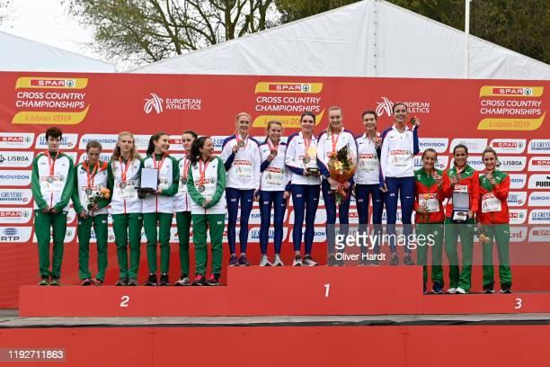 Silver Medalist Team Ireland Gold Medalist Team Great Britain and Bronze Medalist of Portugal stand together on the podium after finishing in the top...