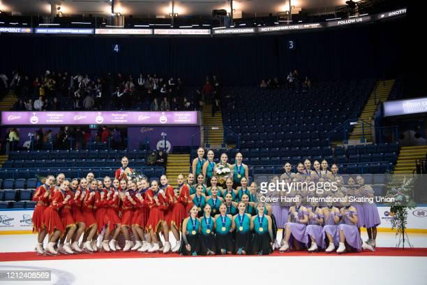 Silver medalist Team Junost Junior of Russia gold medalist Team Fintastic Junior of Finland and bronze medalist Team Crystal Ice Junior of Russia...