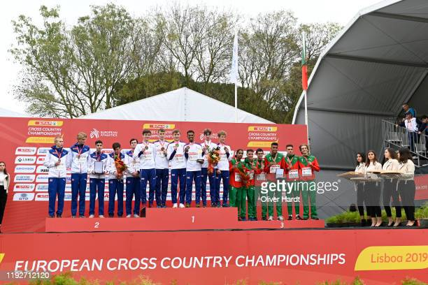Silver Medalist Team Norway Gold Medalist Team Great Britain and Bronze Medalist of Portugal stand together on the podium after finishing in the top...