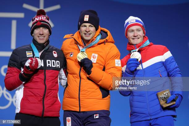 Silver medalist TedJan Bloemen of Canada gold medalist Sven Kramer of the Netherlands and bronze medalist Sverre Lunde Pedersen of Norway pose during...