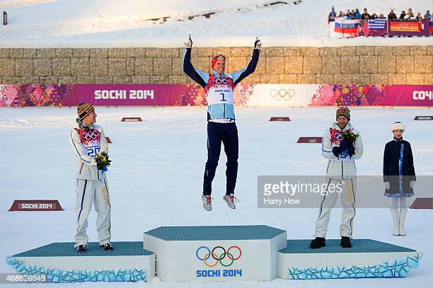 Silver medalist Teodor Peterson of Sweden gold medalist Ola Vigen Hattestad of Norway and bronze medalist Emil Joensson of Sweden celebrate on the...