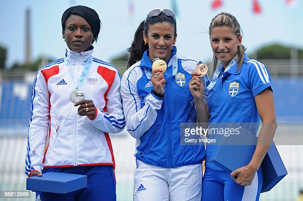 Silver medalist Teresa Nzola Meso Ba of France gold medalist Athanasia Perra and bronze medalist Paraskevi Papachristou of Greece pose for the...