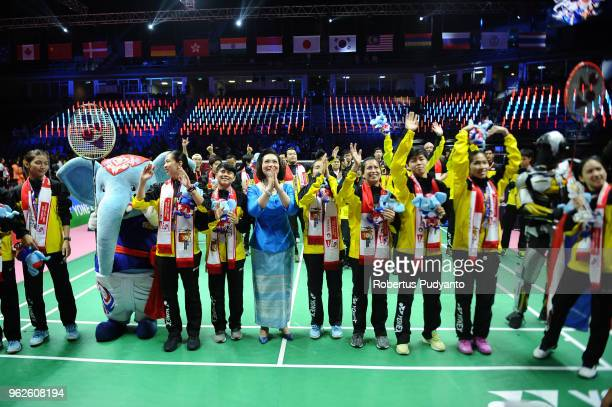 Silver medalist Thailand team celebrate during the awarding ceremony on day seven of the BWF Uber Cup at Impact Arena on May 26 2018 in Bangkok...