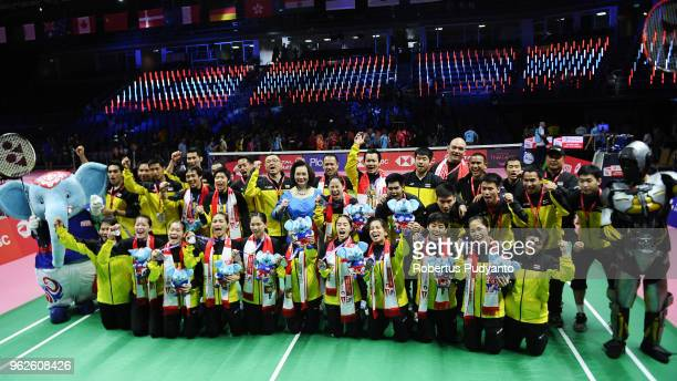 Silver medalist Thailand team celebrate on the podium during the awarding ceremony on day seven of the BWF Uber Cup at Impact Arena on May 26 2018 in...