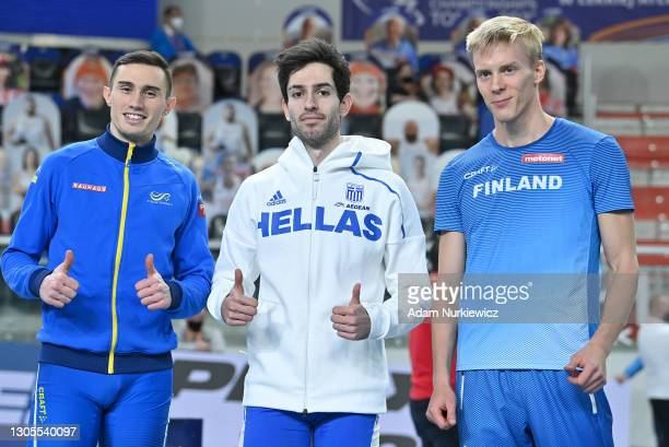 Silver medalist Thobias Montler of Sweden, gold medalist Miltiadis Tentoglou of Greece and bronze medalist Kristian Pulli of Finland pose for a photo...