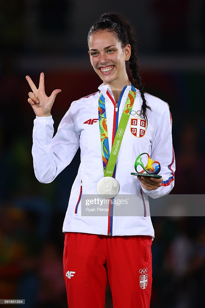 Silver medalist Tijana Bogdanovic of Serbia stands on the podium during the medal ceremony for the Taekwondo Women's -49kg contest during Day 12 of the Rio 2016 Olympic Games at Carioca Arena 3 on August 17, 2016 in Rio de Janeiro, Brazil.