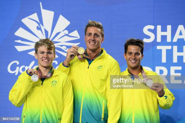 Silver medalist Timothy Hodge of Australia gold medalist Brenden Hall of Australia and bronze medalist Logan Powell of Australia pose during the...