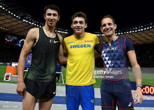 Silver medalist Timur Morgunov of Authorised Neutral Athletes Gold medalist Armand Duplantis of Sweden and Bronze medalist Renaud Lavillenie of...