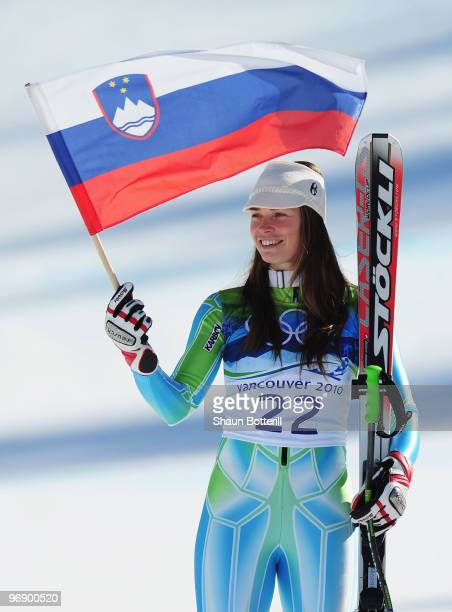 Silver medalist Tina Maze of Slovenia celebrates after competing in the women's alpine skiing SuperG on day nine of the Vancouver 2010 Winter...
