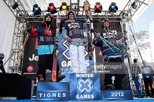 Silver medalist Tom Wallisch of the USA Gold medalist Bobby Brown of the USA and Bronze medalist Andreas Hatveit of Norway stand on the podium during...