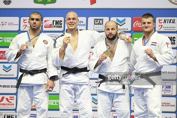 Silver medalist Toma Nikiforov of Belgium, Gold medalist Henk Grol of the Netherlands and Bronze medalists Grigori Minaskim of Estonia, Michael...