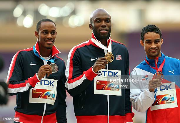 Silver medalist Tony McQuay of the United States gold medalist LaShawn Merritt of the United States and bronze medalist Luguelin Santos of the...