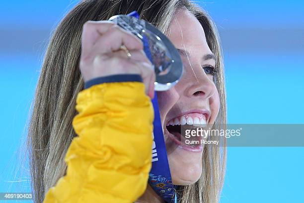 Silver medalist Torah Bright of Australia celebrates during the medal ceremony for the Snowboard Ladies' Halfpipe on day six of the Sochi 2014 Winter...