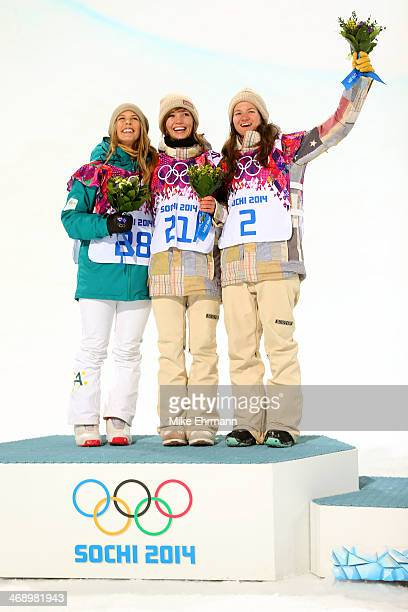 Silver medalist Torah Bright of Australia gold medalist Kaitlyn Farrington of the United States and bronze medalist Kelly Clark of the United States...