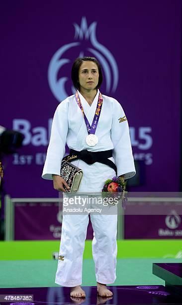 Silver medalist Turkey's Ebru Sahin poses after their women's 48kg judo final match with Belgium's Charline van Snick at the Baku 2015 European Games...