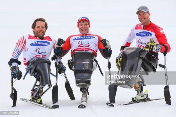 Silver Medalist Tyler Walker of United States Gold Medalist Jesper Pedersen of Norway and Bronze Medalist Igor Sikorski of Poland celebrates at the...