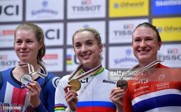 Silver medalist US Jennifer Valente, Gold medalist Great Britain's Elinor Barker and Bronze medalist Norway's Anita Yvonne Stenberg pose on the...