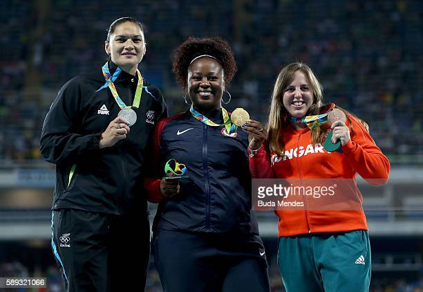 Silver medalist Valerie Adams of New Zealand, Gold medalist Michelle Carter of the United States and Bronze Medialist Anita Marton of Hungary...
