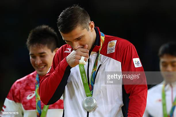 Silver medalist Varlam Liparteliani of Georgia looks on during the medal ceremony for the Men's 90kg Judo on Day 5 of the Rio 2016 Olympic Games at...