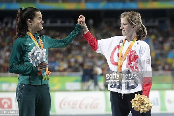 Silver medalist Veronica Hipolito of Brazil and gold medalist Sophie Hahn of Great Britain celebrate on the podium at the medal ceremony for the...
