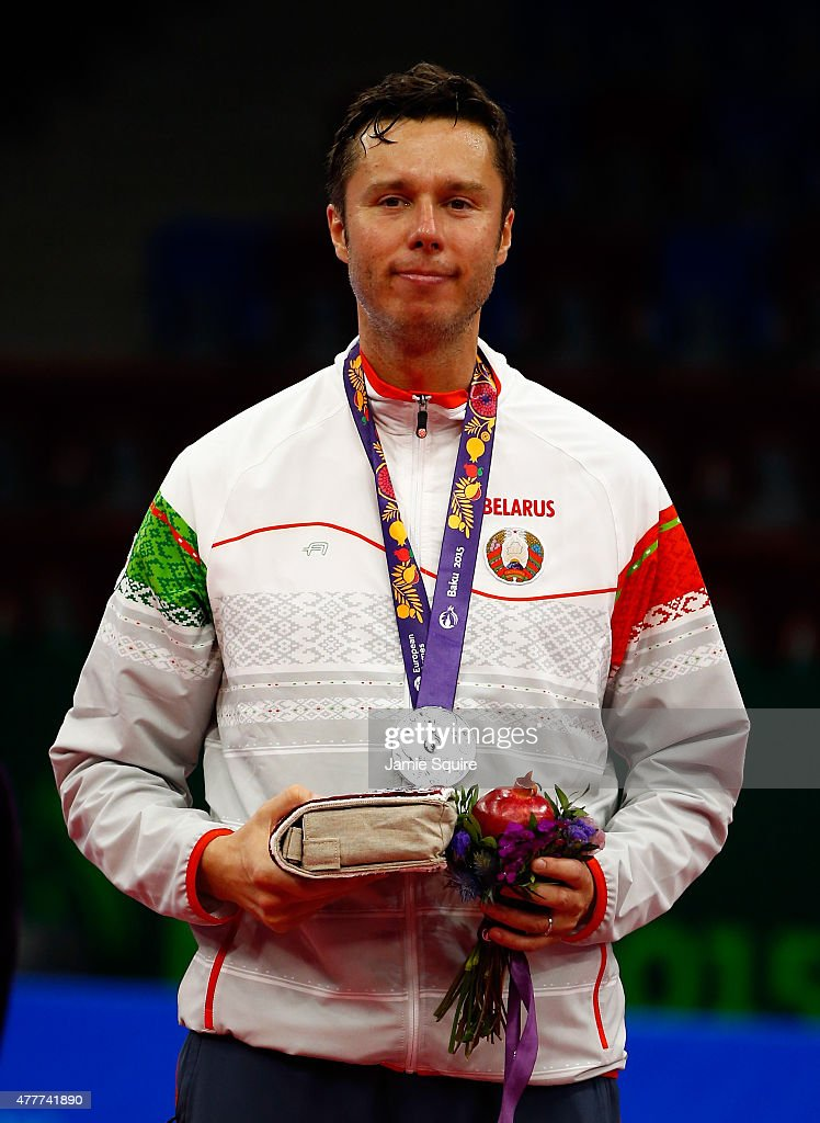 Silver medalist Vladimir Samsonov of Belarus stands on the podium after the Men's Table Tennis Finals during day seven of the Baku 2015 European Games at the Baku Sports Hall on June 19, 2015 in Baku, Azerbaijan.