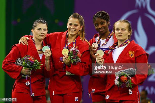 Silver medalist Volha Namazava of Belarus gold medalist Ivana Jandric of Serbia and bronze medalists Celine Conde of France and Olga Zakhartsonva of...