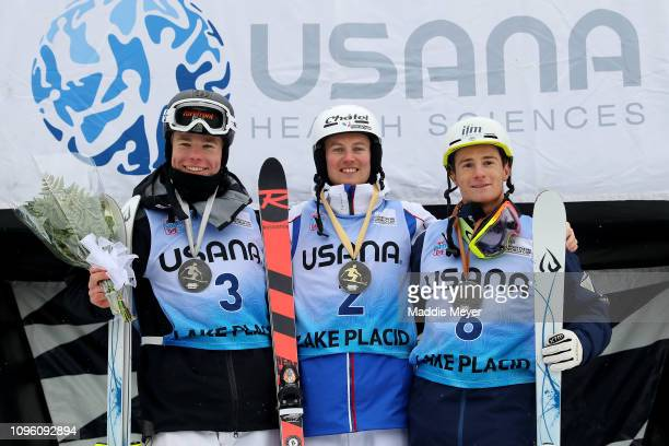 Silver medalist Walter Wallberg of Sweden gold medalist Benjamin Cavet of France and bronze medalist Matt Graham of Australia celebrate on the podium...