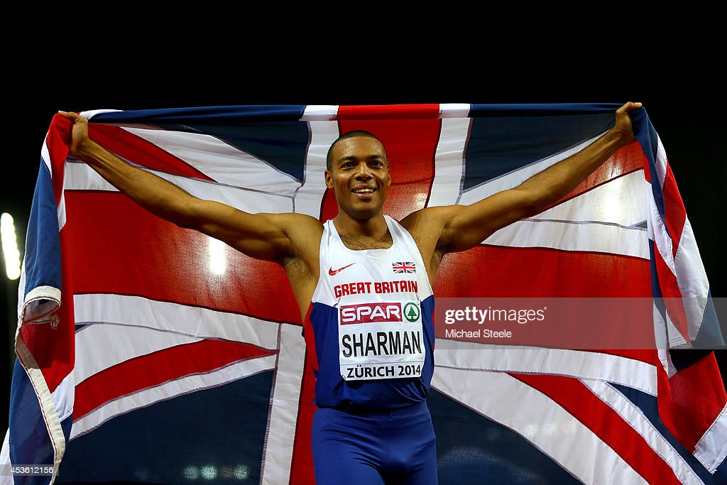 Silver medalist William Sharman of Great Britain and Northern Ireland poses with the Union Jack as he celebrates after the Men's 110 metres hurdles final during day three of the 22nd European Athletics Championships at Stadium Letzigrund on August 14, 2014 in Zurich, Switzerland.