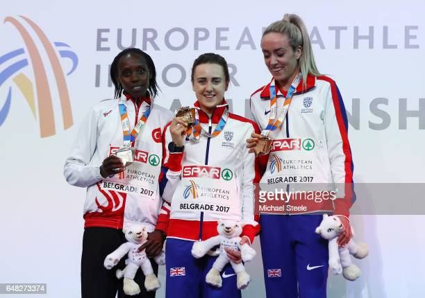 Silver medalist Yasemin Can of Turkey gold medalist Laura Muir of Great Britain and bronze medalist Eilish McColgan of Great Britain pose during the...