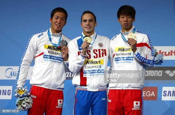Silver medalist Yasuhiro Koseki of Japan gold medalist Anton Chupkov of Russia and bronze medalist Ippei Watanabe of Japan pose with the medals won...