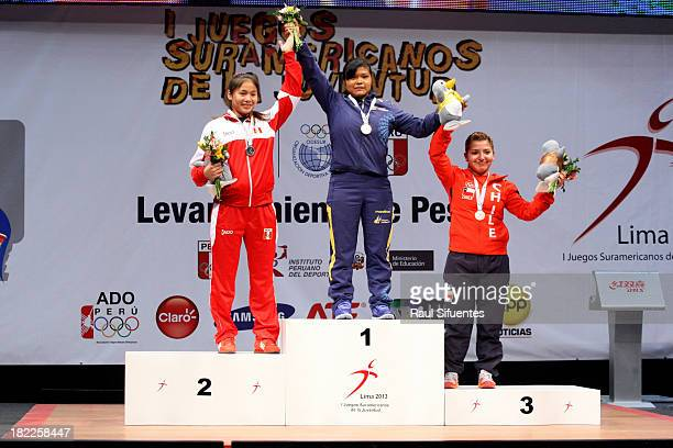 Silver medalist Yomara Cajas of Peru gold medalist Magali Juanga of Ecuador and bronze medalist Almendra Lopez of Chile competes in women's 63 kg as...