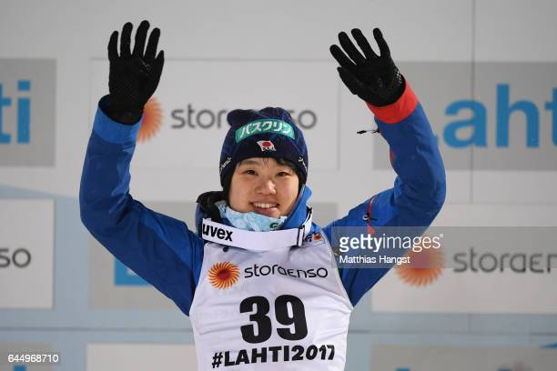 Silver medalist Yuki Ito of Japan celebrates following the Women's Ski Jumping HS100 during the FIS Nordic World Ski Championships on February 24...