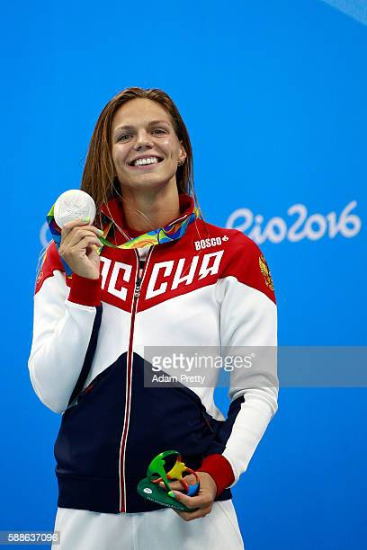 Silver medalist Yulia Efimova of Russia celebrates on the podium during the medal ceremony for the Women's 200m Breaststroke Final on Day 6 of the...