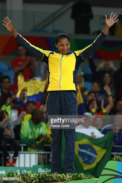 Silver medalist Yuri Alvear of Colombia stands on the podium during the medal ceremeny for the Women's 70kg Judo on Day 5 of the Rio 2016 Olympic...