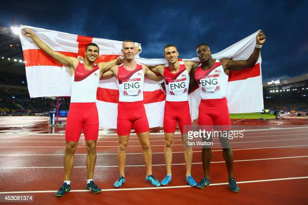 Silver medalists Adam Gemili Harry AikinesAryeetey Richard Kilty and Danny Talbot of England celebrate after the Men's 4x100 metres relay final at...