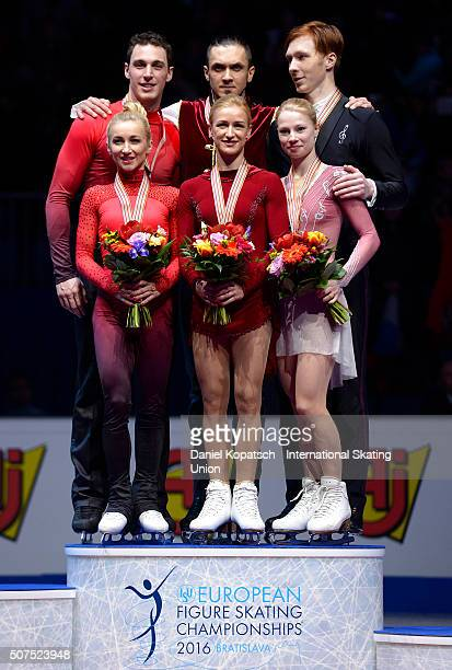 Silver medalists Aliona Savchenko and Bruno Massot of Germany gold medalists Tatiana Volosozhar and Maxim Trankov of Russia and Evgenia Tarasova and...