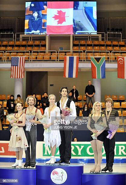 Silver medalists Allie Hann-Mccurdy and Michael Coreno of Canada, gold medalists Kaitlyn Weaver and Andrew Poje of Canada and bronze medalists...