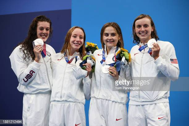 Silver medalists Allison Schmitt, Paige Madden, Katie McLaughlin and Katie Ledecky of Team United States pose with their silver medals for the...