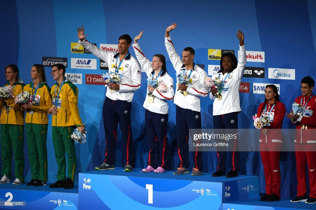Silver medalists Australia, gold medalists The United states and bronze medalists Canada pose with the medals won during the Mixed 4x100m Medley Relay final on day thirteen of the Budapest 2017 FINA World Championships on July 26, 2017 in Budapest, Hungary.