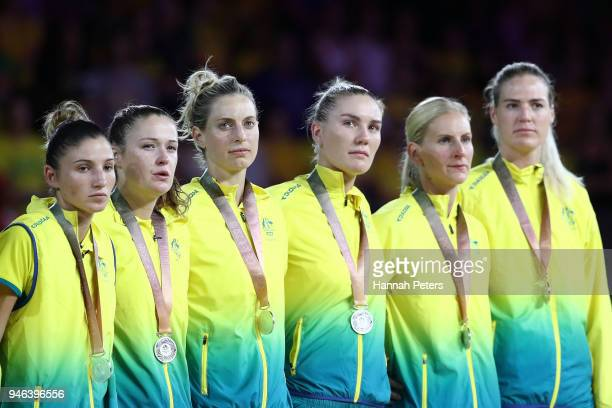 Silver medalists Australia pose during the medal ceremony for the Netball Gold Medal Match on day 11 of the Gold Coast 2018 Commonwealth Games at...