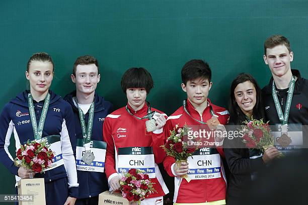 Silver medalists Benjamin Auffret and Laura Marino of France Gold medal Chang Yani and Tai Xiaohu of China bronze medal Meaghan Benfeito and Vincent...