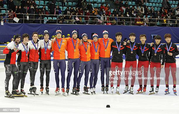 Silver medalists Charle Cournoyer Patrick Duffy Samuel Girard and Charles Hamelin of Canada Gold medalists Daan Breeuwsma Sjinkie Knegt Adwin...