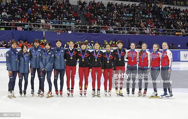 Silver medalists Choi MinJeong Jeon JiSoo Kim ALang and Lee EunByul of South Korea Gold medalists Fan Kexin Han YoTong Li Hongshuang and Lin Yue of...