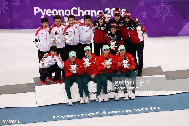 Silver medalists Dajing Wu Tianyu Han Hongzhi Xu and Dequan Chen of China gold medalists Shaoang Liu Shaolin Sandor Liu Viktor Knoch and Csaba Burjan...