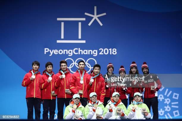 Silver medalists Dajing Wu Tianyu Han Hongzhi Xu Dequan Chen and Ziwei Ren of China gold medalists Shaoang Liu Shaolin Sandor Liu Viktor Knoch and...