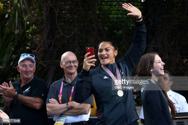 Silver medalists Dame Valerie Adams and Eliza McCartney arrive during a New Zealand medal celebration on day 10 of the Gold Coast 2018 Commonwealth...