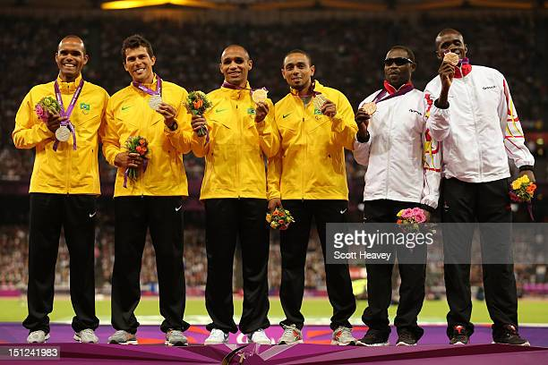 Silver medalists Daniel Silva of Brazil and guide Heitor de Oliveira Sales Gold medalists Felipe Gomes of Brazil and his guide Leonardo Souza Lopes...